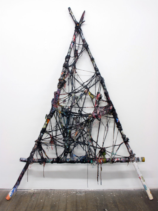 Jacin Giordano. Unravel 13, 2014. Yarn, acrylic and tree branches. 81.5 x 61 in.