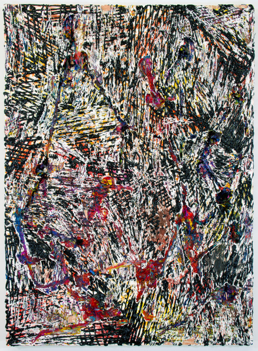 Jacin Giordano. Cutpainting 63, 2015. Acrylic and yarn on wood. 48 x 36 in.