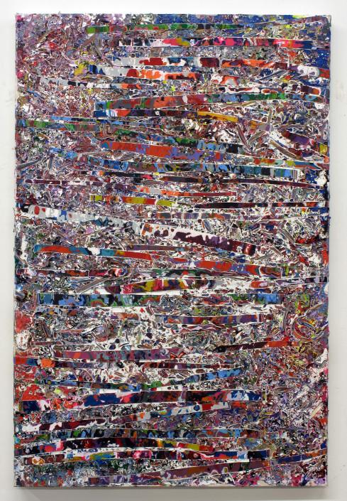 Jacin Giordano. Shredded Painting 51, 2015. Acrylic on canvas. 36 x 24 in.
