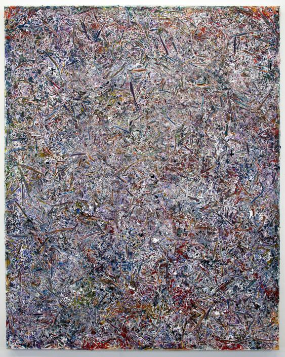 Jacin Giordano. Shredded Painting 28, 2015. Acrylic on canvas. 60 x 48 in.