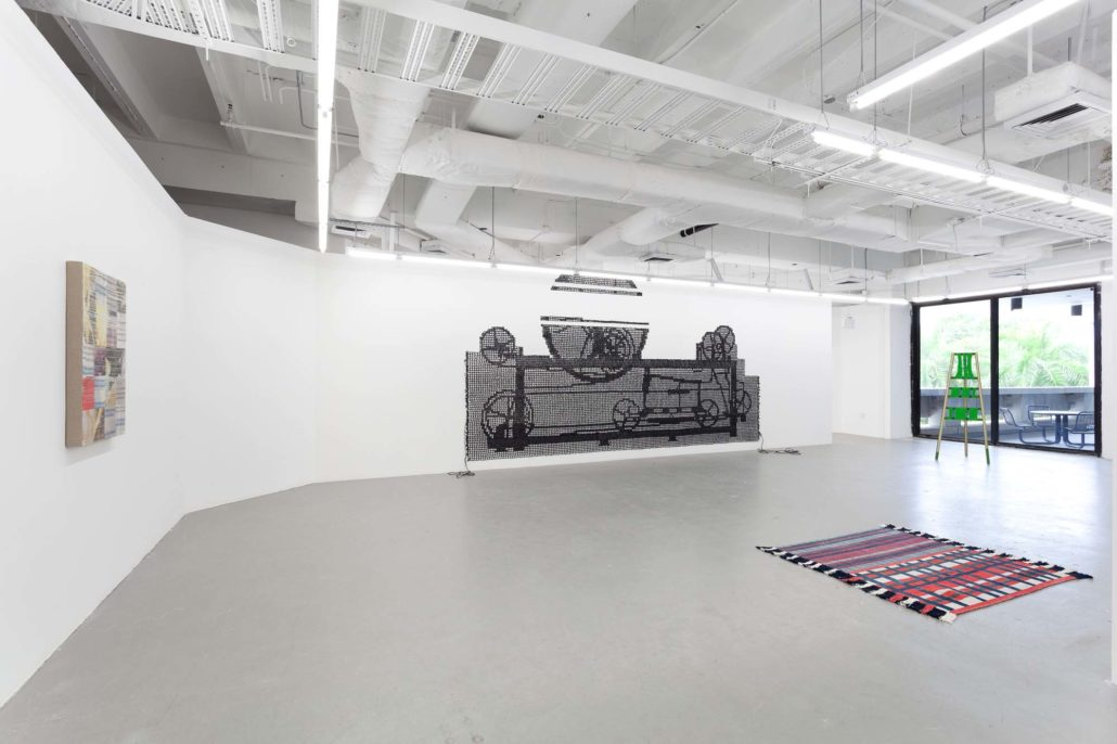 A Thread of Execution installation shot. Work by Margo Wolowiec, Carrie Sieh, Diedrick Brackens, and Moira Holohan.
