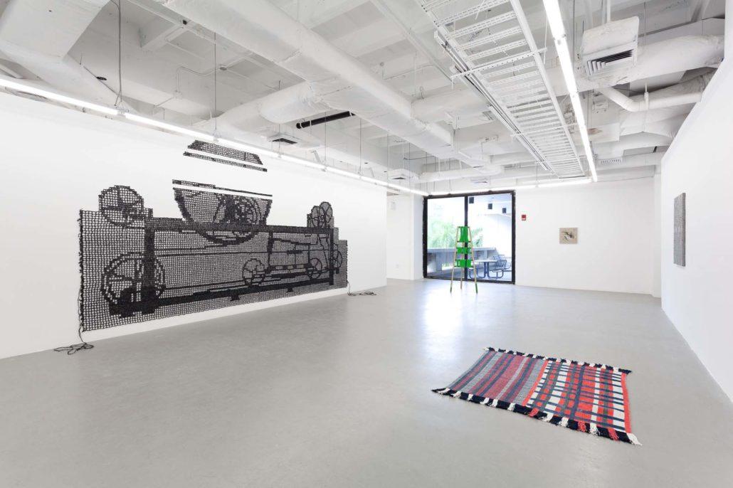 A Thread of Execution installation shot. Work by Carrie Sieh, Moira Holohan, Pip Brant, Diedrick Brackens, and Samantha Bittman.