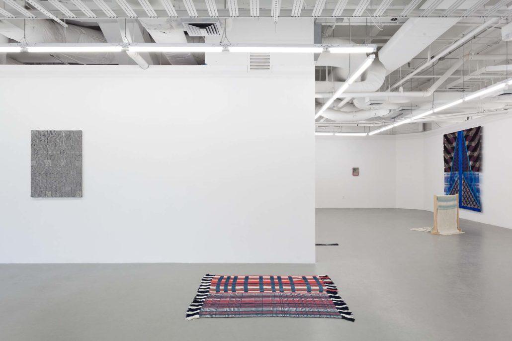 A Thread of Execution installation shot. Work by Samantha Bittman, Diedrick Brackens, Indira Allegra, Laura Marsh, Frances Trombly, and Julia Bland.