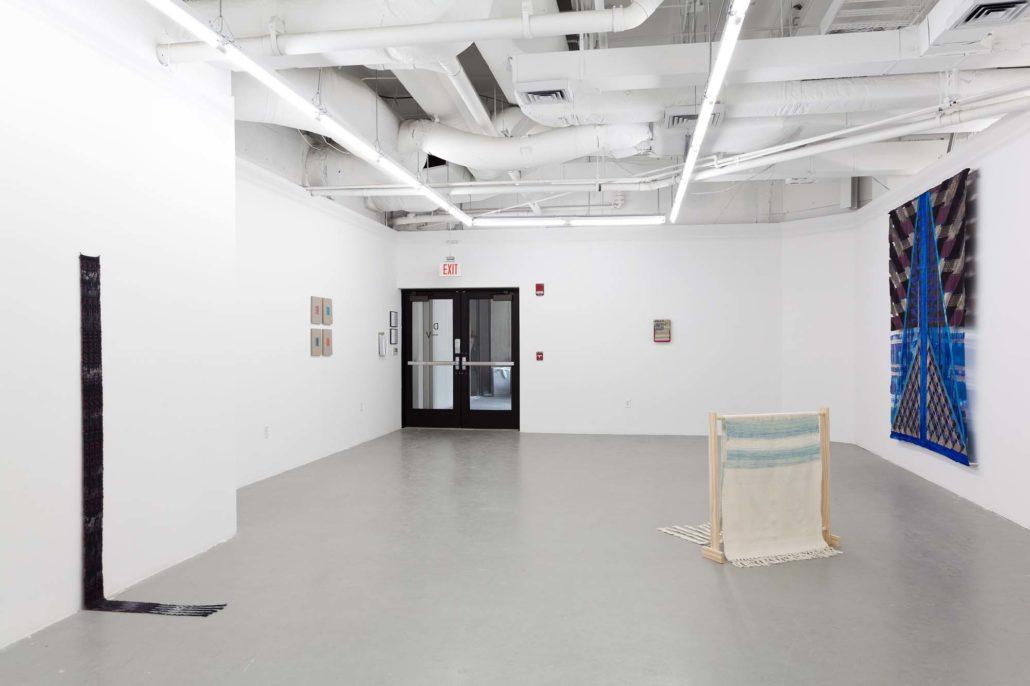 A Thread of Execution installation shot. Work by Indira Allegra, Elaine Reichek, Laura Marsh, Frances Trombly, and Julia Bland.