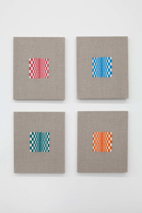 Elaine Reichek, Swatches: Riley 1–4. 2007. Digital embroidery on linen, overall, 26.5 x 22.5 inches.