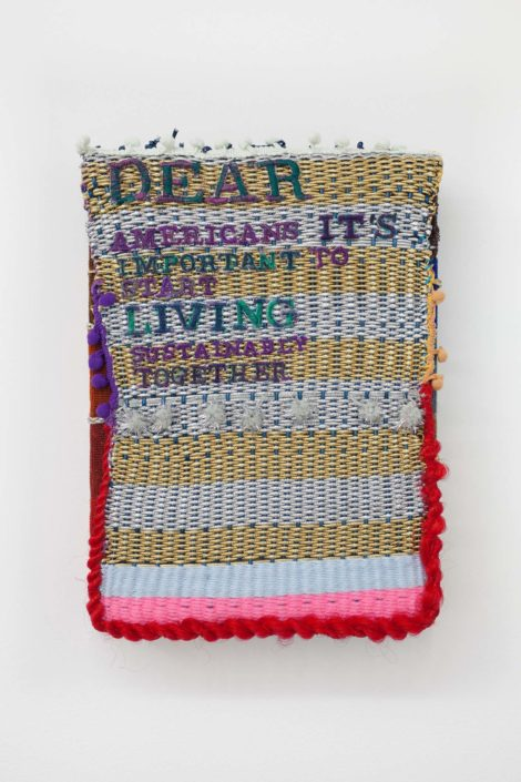 Laura Marsh, Dear Americans It's Time, 2017. Embroidered weaving with metallic thread and faux hair, 10 x 14 inches.