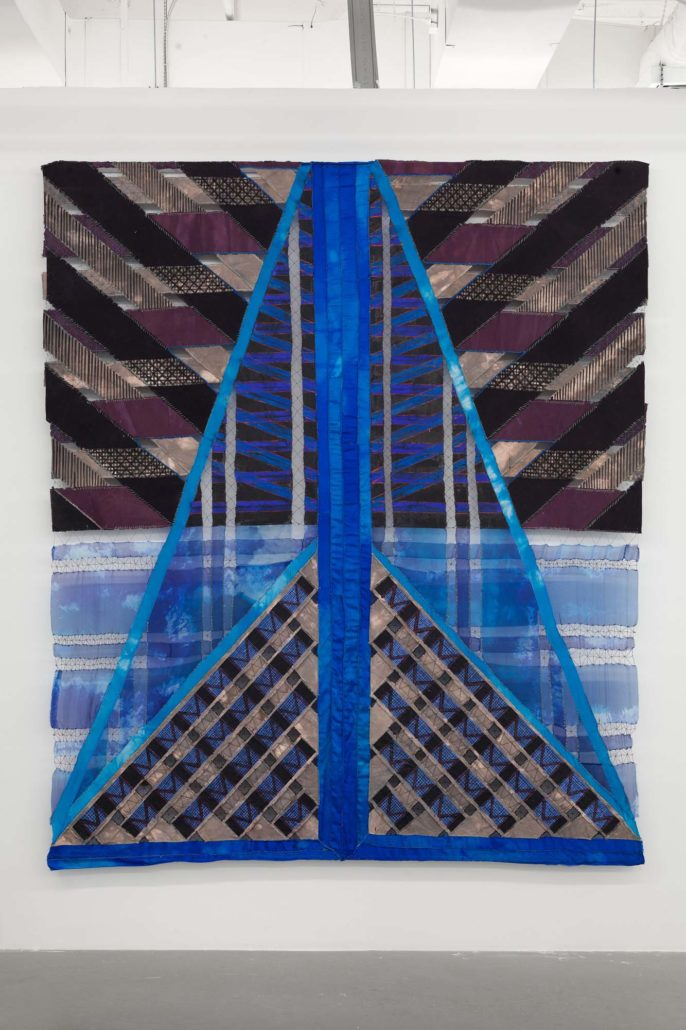 Julia Bland, Midnight Morning, 2016. Canvas, wool, linen threads, wax, fabric dye, oil paint, and ink, 96 x 82 inches.