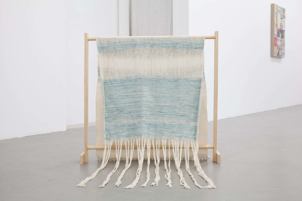 Frances Trombly, Textile drape over wood structure, 2017. Handwoven cotton and hand dyed silk, wood, dimensions variable.