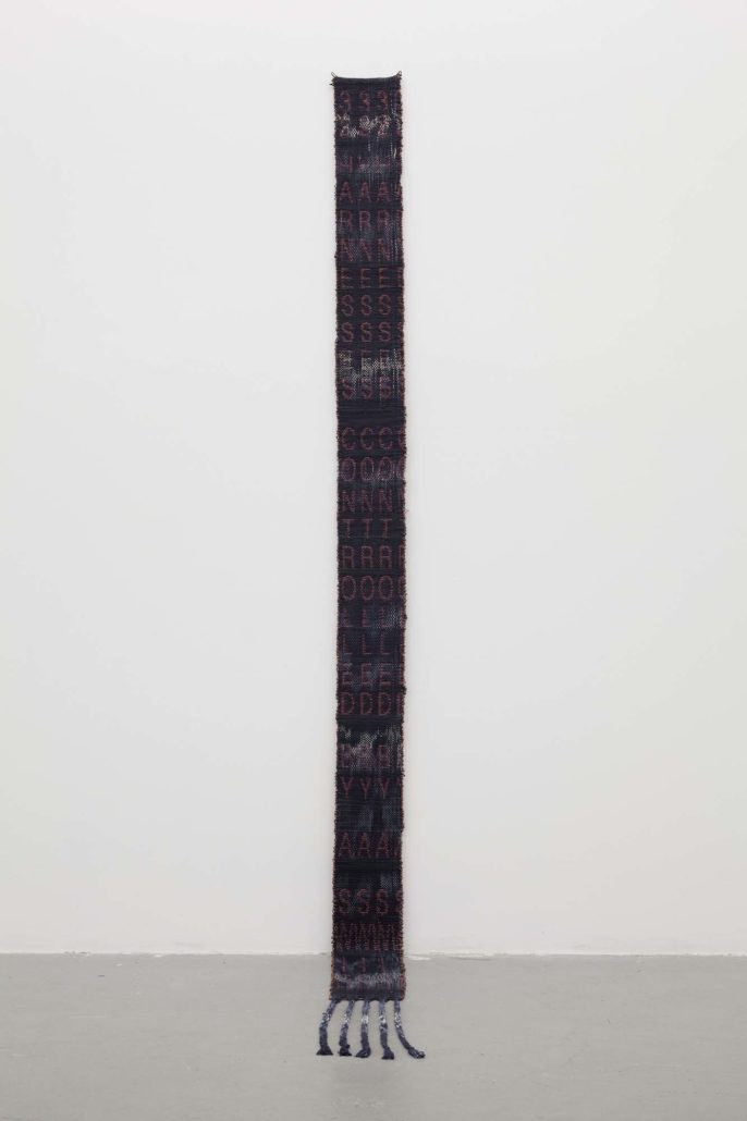 Indira Allegra, 32 Harnesses Controlled by a Switch, 2014. Calfskin leather, hand dyed silk, thread, 92 x 5.5 x .25 inches.
