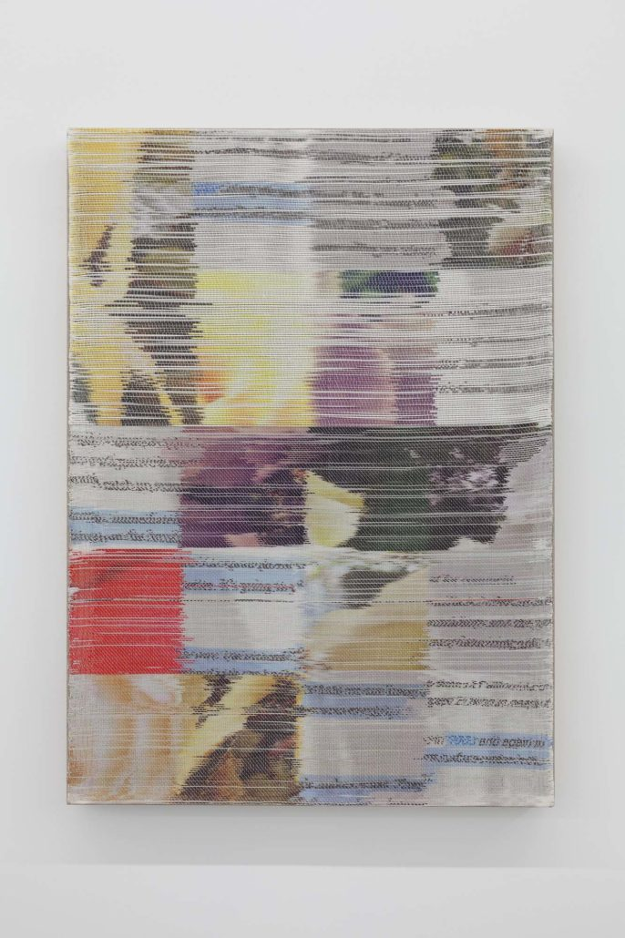 Margo Wolowiec, Catch Up/1983, 2017. Handwoven polyester, linen, dye sublimation ink, mounted on linen support.