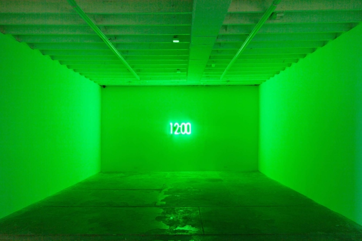 "Erin Thurlow, Alarm, flashing LED sign, 16""x30"", 2020"