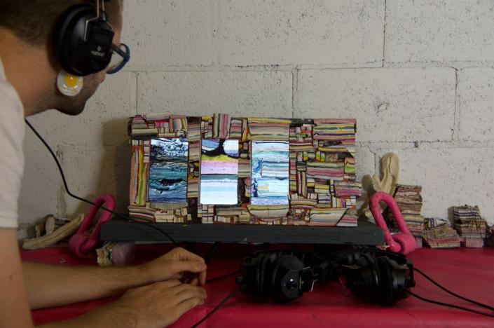 Coe Lapossy Meg Sydeny Alec Talkies install for Trap Door Show